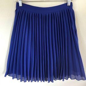 ASOS High Waist Pleated Mini Skirt Royal Blue SZ 4
